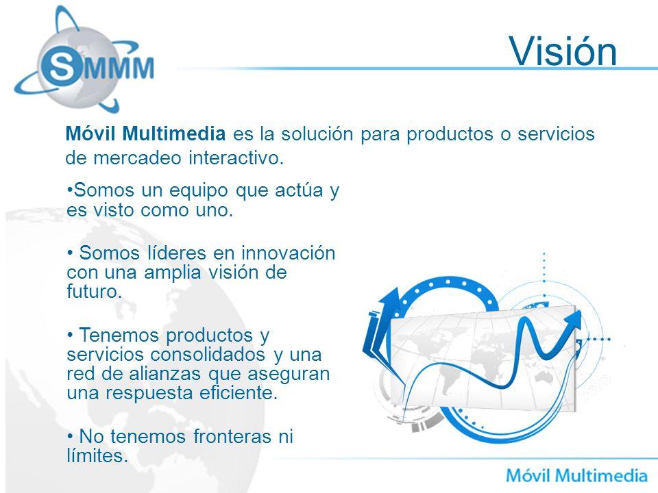 Visión Móvil Multimedia es la solución para productos o servicios de mercadeo interactivo. Somos un equipo que actúa y es visto como uno. Somos lídere