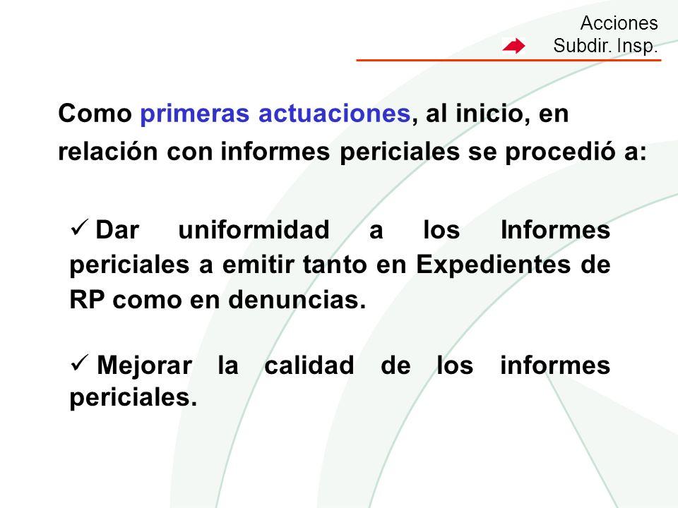 Acciones Subdir. Insp. Dar uniformidad a los Informes periciales a emitir tanto en Expedientes de RP como en denuncias. Mejorar la calidad de los info