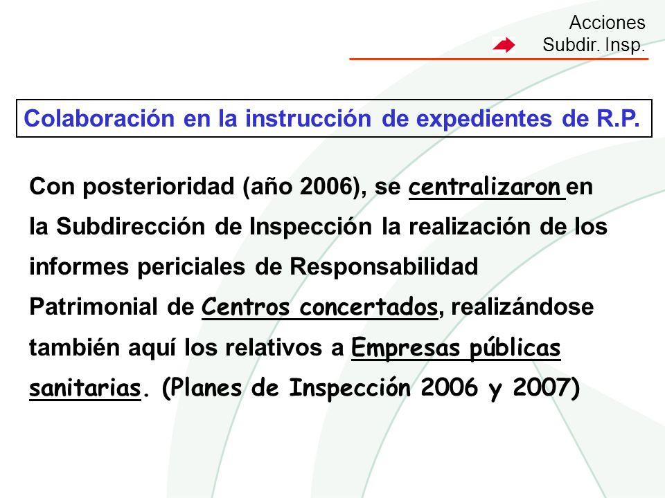 Acciones Subdir. Insp. Con posterioridad (año 2006), se centralizaron en la Subdirección de Inspección la realización de los informes periciales de Re