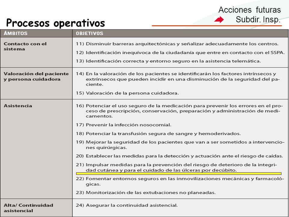 Acciones futuras Subdir. Insp. Procesos operativos