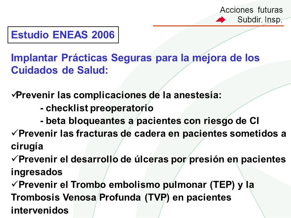 Acciones futuras Subdir. Insp. Estudio ENEAS 2006 Implantar Prácticas Seguras para la mejora de los Cuidados de Salud: Prevenir las complicaciones de