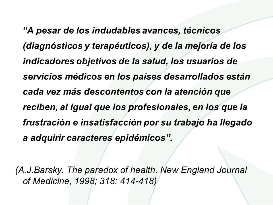 A pesar de los indudables avances, técnicos (diagnósticos y terapéuticos), y de la mejoría de los indicadores objetivos de la salud, los usuarios de s