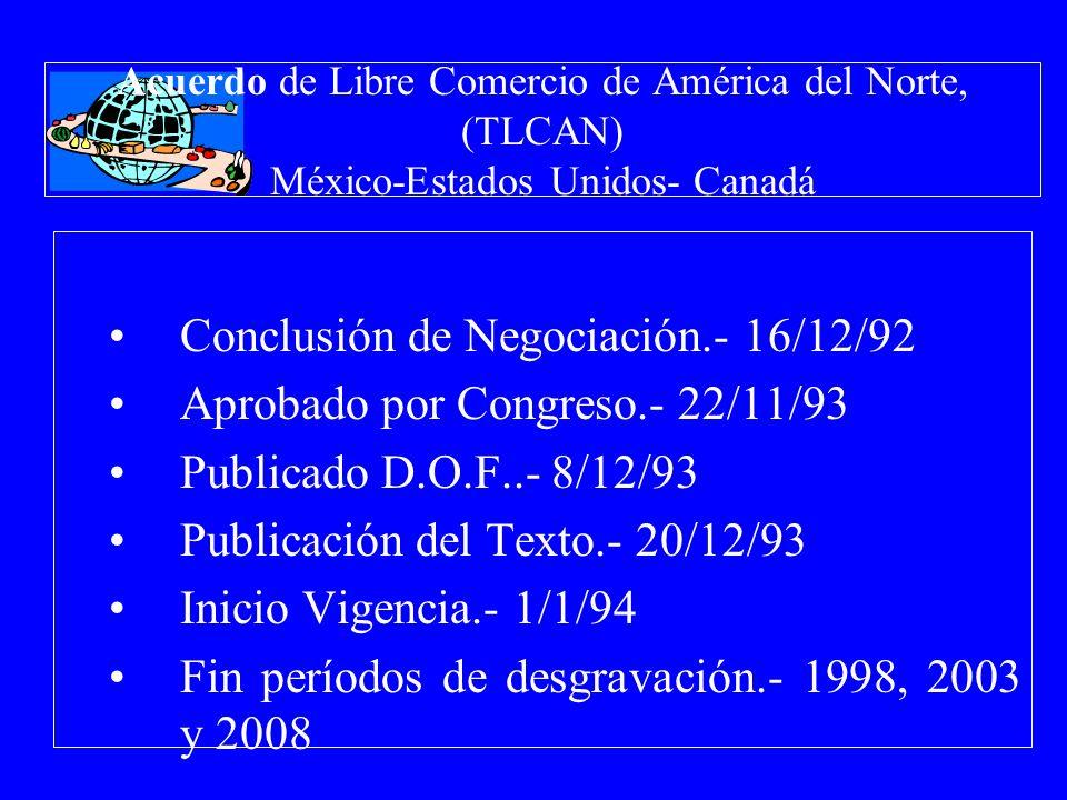 Acuerdo de Libre Comercio de América del Norte, (TLCAN) México-Estados Unidos- Canadá Conclusión de Negociación.- 16/12/92 Aprobado por Congreso.- 22/
