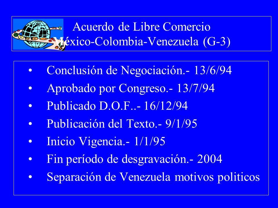 Acuerdo de Libre Comercio México-Colombia-Venezuela (G-3) Conclusión de Negociación.- 13/6/94 Aprobado por Congreso.- 13/7/94 Publicado D.O.F..- 16/12