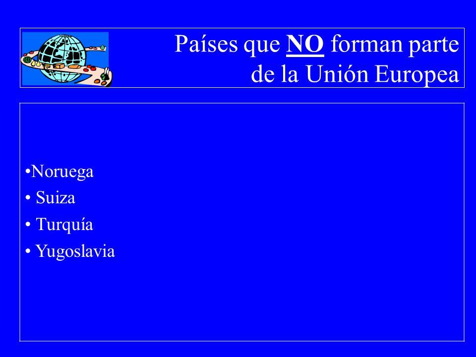 Países que NO forman parte de la Unión Europea Noruega Suiza Turquía Yugoslavia