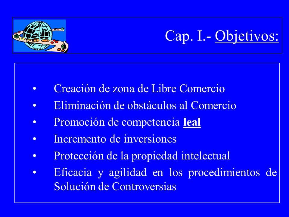 Cap. I.- Objetivos: Creación de zona de Libre Comercio Eliminación de obstáculos al Comercio Promoción de competencia leal Incremento de inversiones P