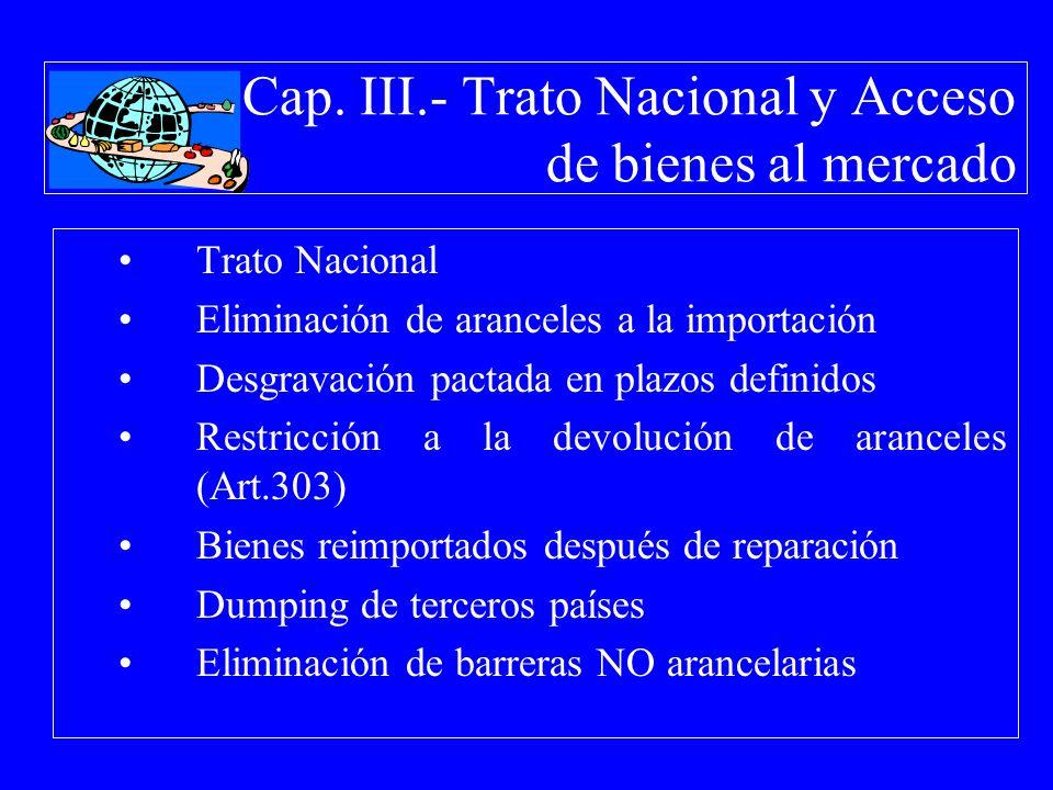 Cap. III.- Trato Nacional y Acceso de bienes al mercado Trato Nacional Eliminación de aranceles a la importación Desgravación pactada en plazos defini