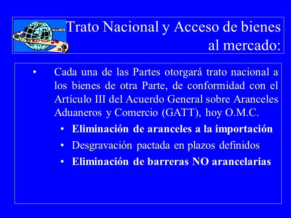 Trato Nacional y Acceso de bienes al mercado: Cada una de las Partes otorgará trato nacional a los bienes de otra Parte, de conformidad con el Artícul