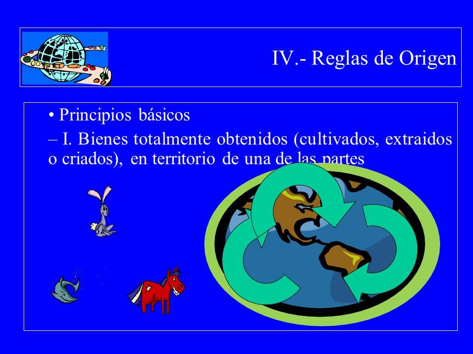 IV.- Reglas de Origen Principios básicos – I. Bienes totalmente obtenidos (cultivados, extraidos o criados), en territorio de una de las partes