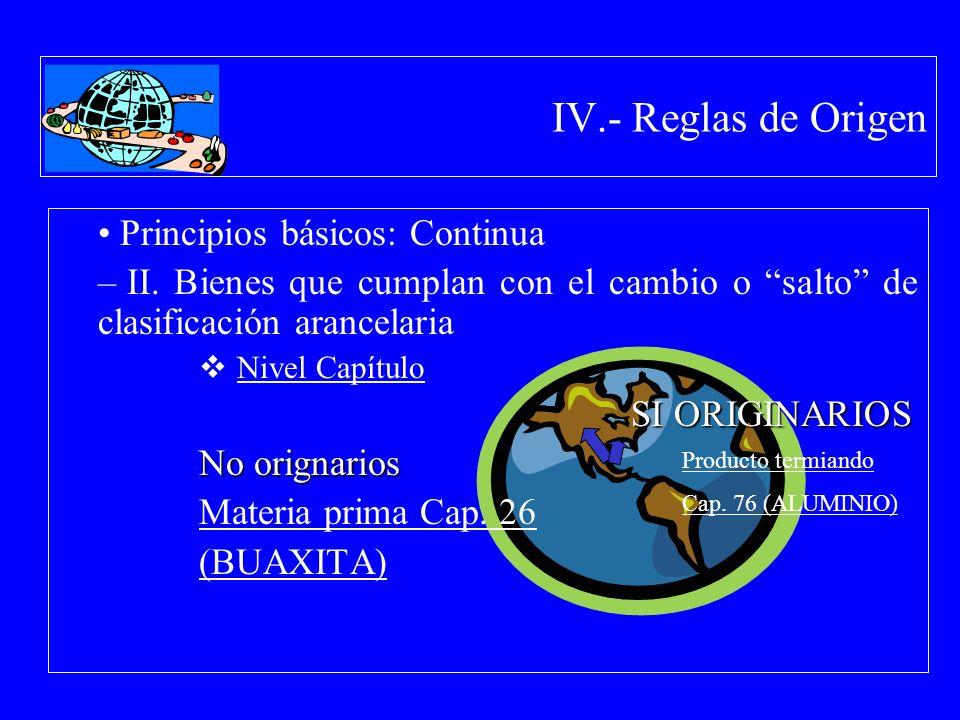IV.- Reglas de Origen Principios básicos: Continua – II. Bienes que cumplan con el cambio o salto de clasificación arancelaria Nivel Capítulo SI ORIGI
