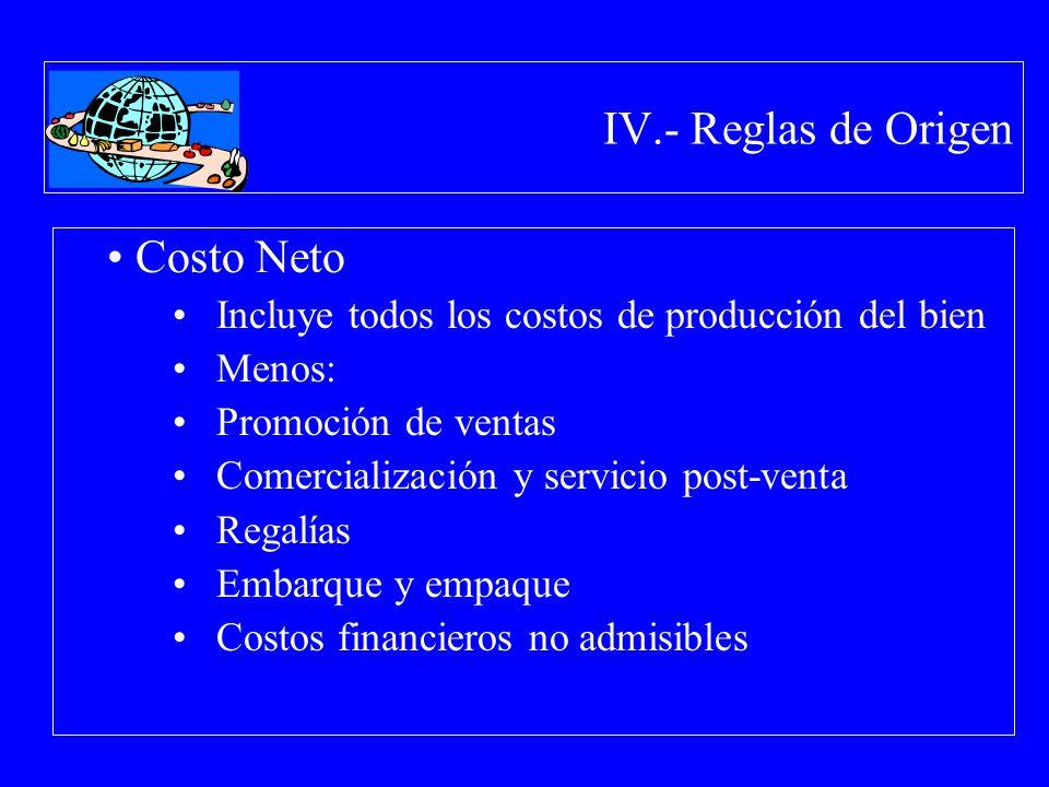 IV.- Reglas de Origen Costo Neto Incluye todos los costos de producción del bien Menos: Promoción de ventas Comercialización y servicio post-venta Reg