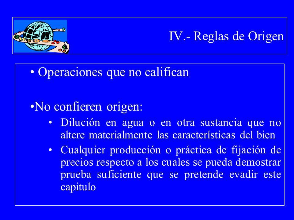 IV.- Reglas de Origen Operaciones que no califican No confieren origen: Dilución en agua o en otra sustancia que no altere materialmente las caracterí