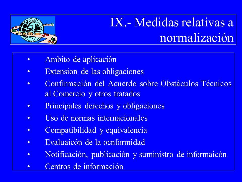 IX.- Medidas relativas a normalización Ambito de aplicación Extension de las obligaciones Confirmación del Acuerdo sobre Obstáculos Técnicos al Comerc