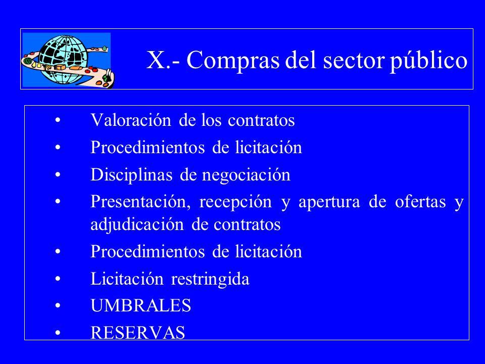 X.- Compras del sector público Valoración de los contratos Procedimientos de licitación Disciplinas de negociación Presentación, recepción y apertura