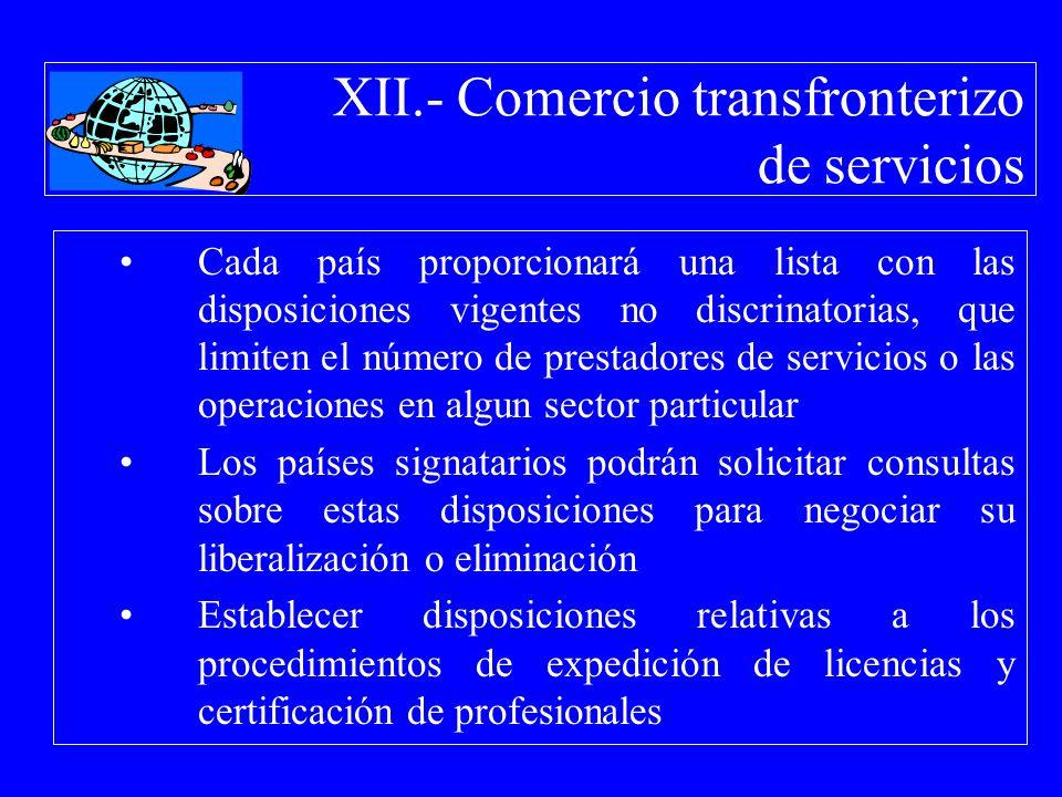 XII.- Comercio transfronterizo de servicios Cada país proporcionará una lista con las disposiciones vigentes no discrinatorias, que limiten el número