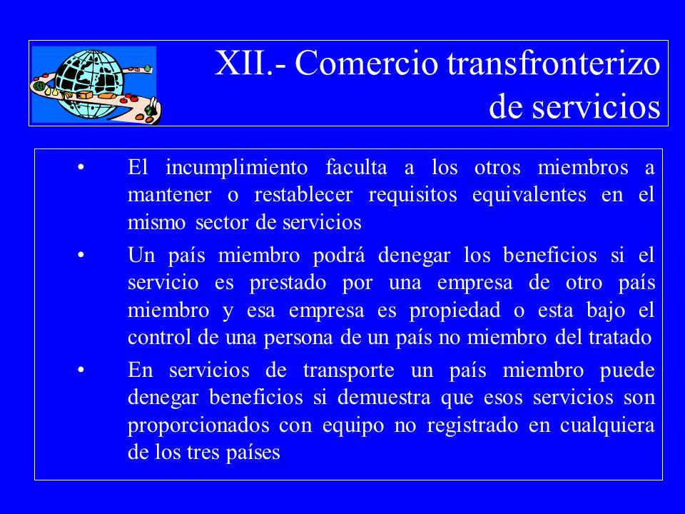 XII.- Comercio transfronterizo de servicios El incumplimiento faculta a los otros miembros a mantener o restablecer requisitos equivalentes en el mism
