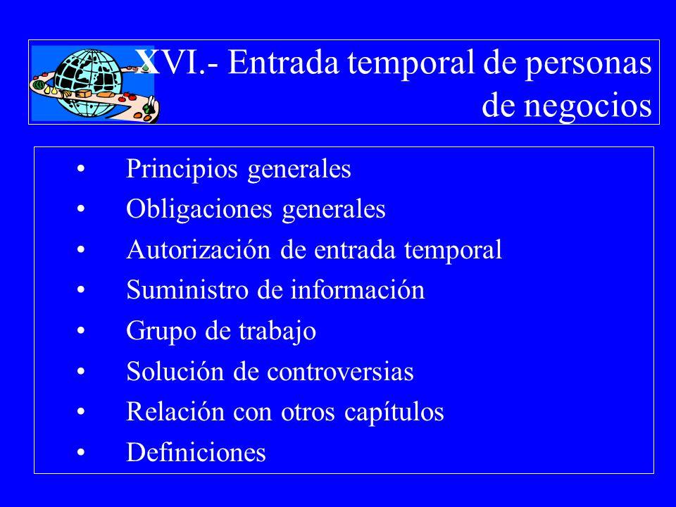 XVI.- Entrada temporal de personas de negocios Principios generales Obligaciones generales Autorización de entrada temporal Suministro de información