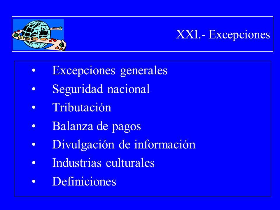 XXI.- Excepciones Excepciones generales Seguridad nacional Tributación Balanza de pagos Divulgación de información Industrias culturales Definiciones