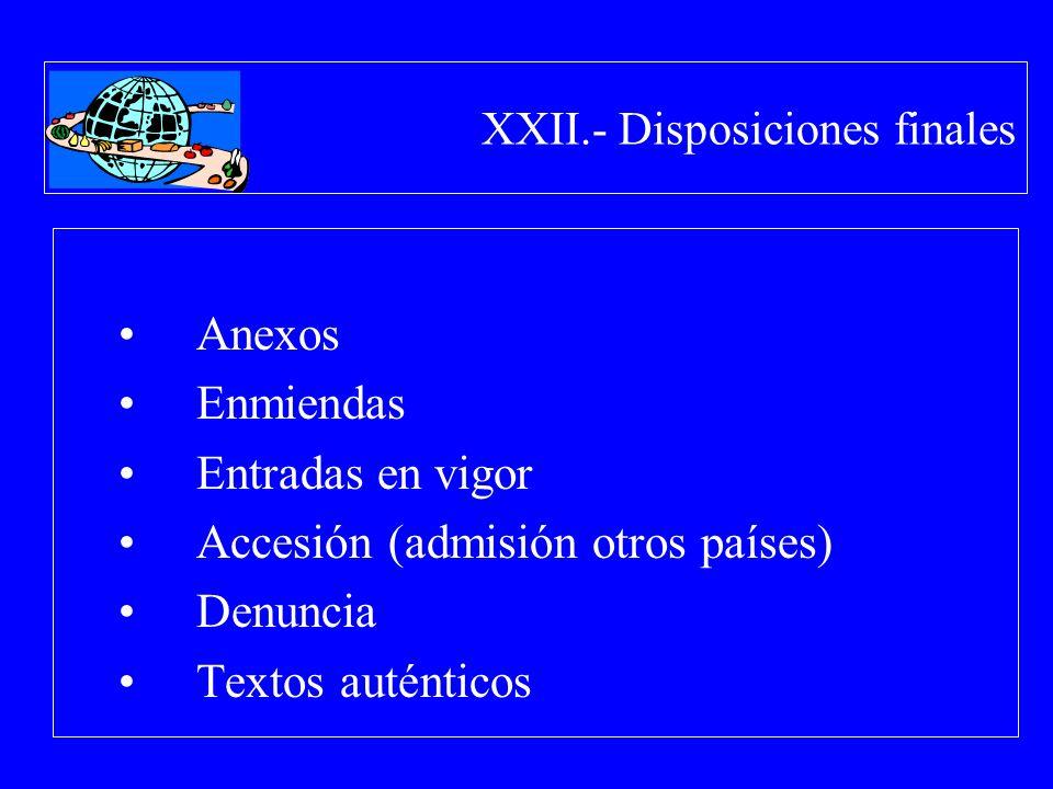 XXII.- Disposiciones finales Anexos Enmiendas Entradas en vigor Accesión (admisión otros países) Denuncia Textos auténticos