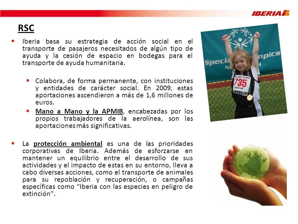 RSC Iberia basa su estrategia de acción social en el transporte de pasajeros necesitados de algún tipo de ayuda y la cesión de espacio en bodegas para