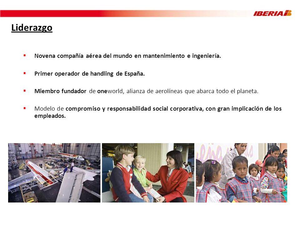 Liderazgo Novena compañía aérea del mundo en mantenimiento e ingeniería. Primer operador de handling de España. Miembro fundador de oneworld, alianza