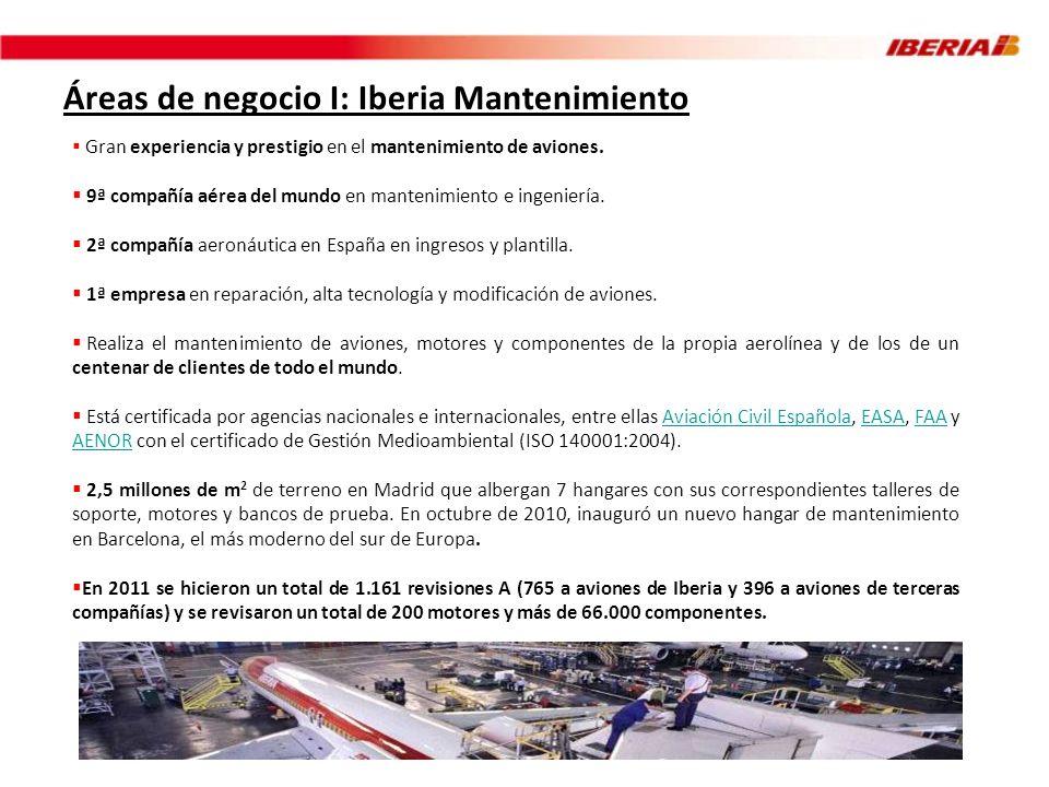 Áreas de negocio I: Iberia Mantenimiento Gran experiencia y prestigio en el mantenimiento de aviones. 9ª compañía aérea del mundo en mantenimiento e i