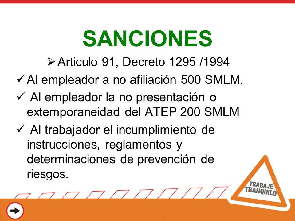 SANCIONES Articulo 91, Decreto 1295 /1994 Al empleador a no afiliación 500 SMLM. Al empleador la no presentación o extemporaneidad del ATEP 200 SMLM A