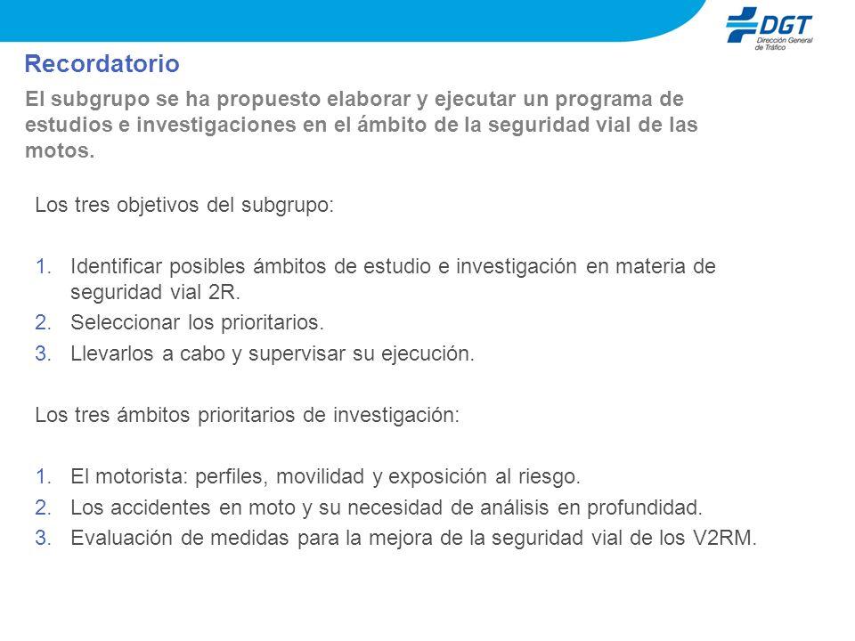 Los tres objetivos del subgrupo: Identificar posibles ámbitos de estudio e investigación en materia de seguridad vial 2R.