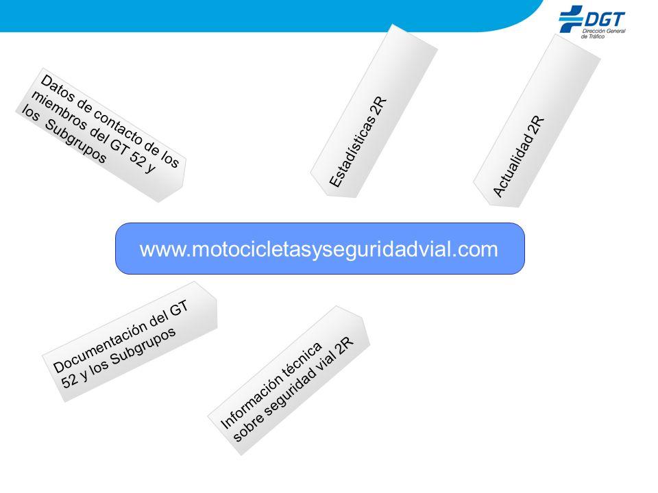 www.motocicletasyseguridadvial.com Información técnica sobre seguridad vial 2R Datos de contacto de los miembros del GT 52 y los Subgrupos Documentación del GT 52 y los Subgrupos Estadísticas 2R Actualidad 2R