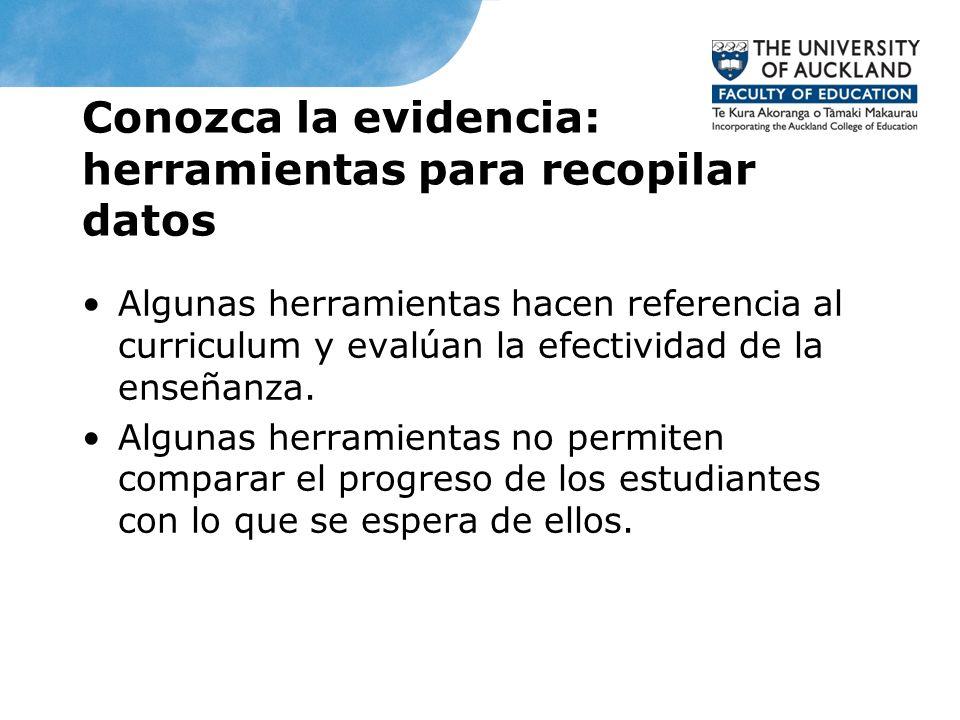 Conozca la evidencia: herramientas para recopilar datos Algunas herramientas hacen referencia al curriculum y evalúan la efectividad de la enseñanza.