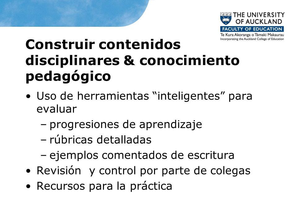 Construir contenidos disciplinares & conocimiento pedagógico Uso de herramientas inteligentes para evaluar –progresiones de aprendizaje –rúbricas deta