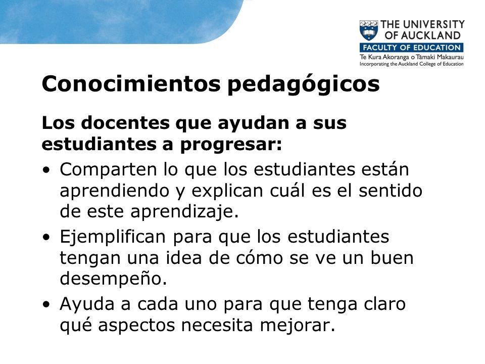 Conocimientos pedagógicos Los docentes que ayudan a sus estudiantes a progresar: Comparten lo que los estudiantes están aprendiendo y explican cuál es