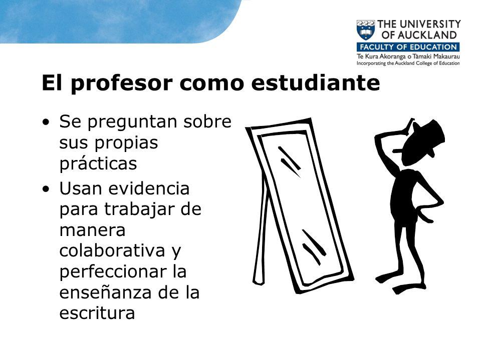 El profesor como estudiante Se preguntan sobre sus propias prácticas Usan evidencia para trabajar de manera colaborativa y perfeccionar la enseñanza d