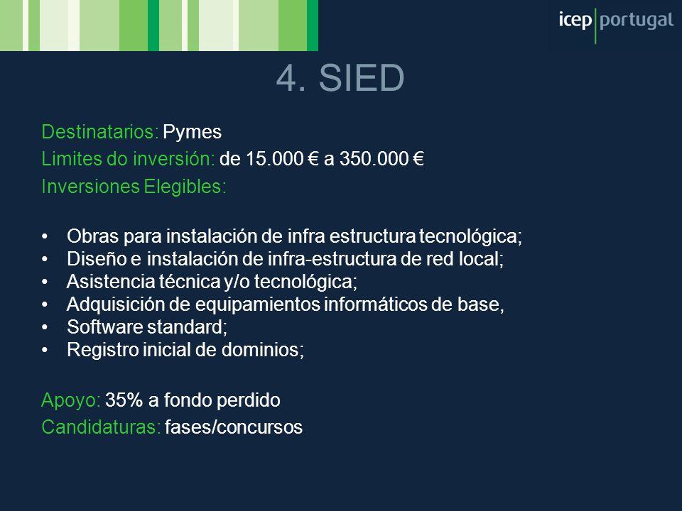 4. SIED Destinatarios: Pymes Limites do inversión: de 15.000 a 350.000 Inversiones Elegibles: Obras para instalación de infra estructura tecnológica;