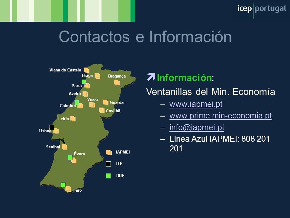 Contactos e Información Porto Coimbra Braga Setúbal Lisboa Leiria Aveiro Viseu Covilhã Viana do Castelo Bragança Guarda Évora Faro IAPMEI DRE ITP Info
