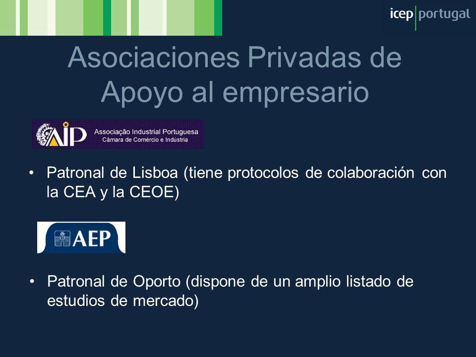 Patronal de Lisboa (tiene protocolos de colaboración con la CEA y la CEOE) Asociaciones Privadas de Apoyo al empresario Patronal de Oporto (dispone de