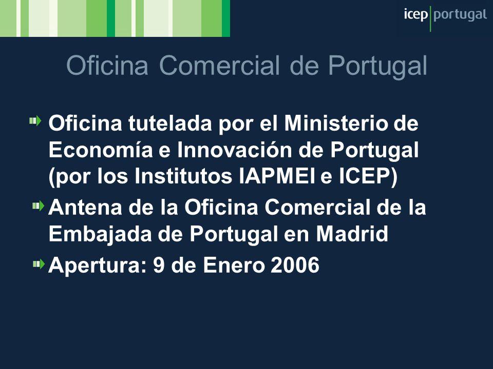 Oficina Comercial de Portugal Oficina tutelada por el Ministerio de Economía e Innovación de Portugal (por los Institutos IAPMEI e ICEP) Antena de la