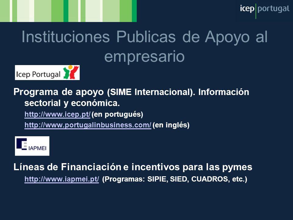 Instituciones Publicas de Apoyo al empresario Programa de apoyo (SIME Internacional). Información sectorial y económica. http://www.icep.pt/http://www
