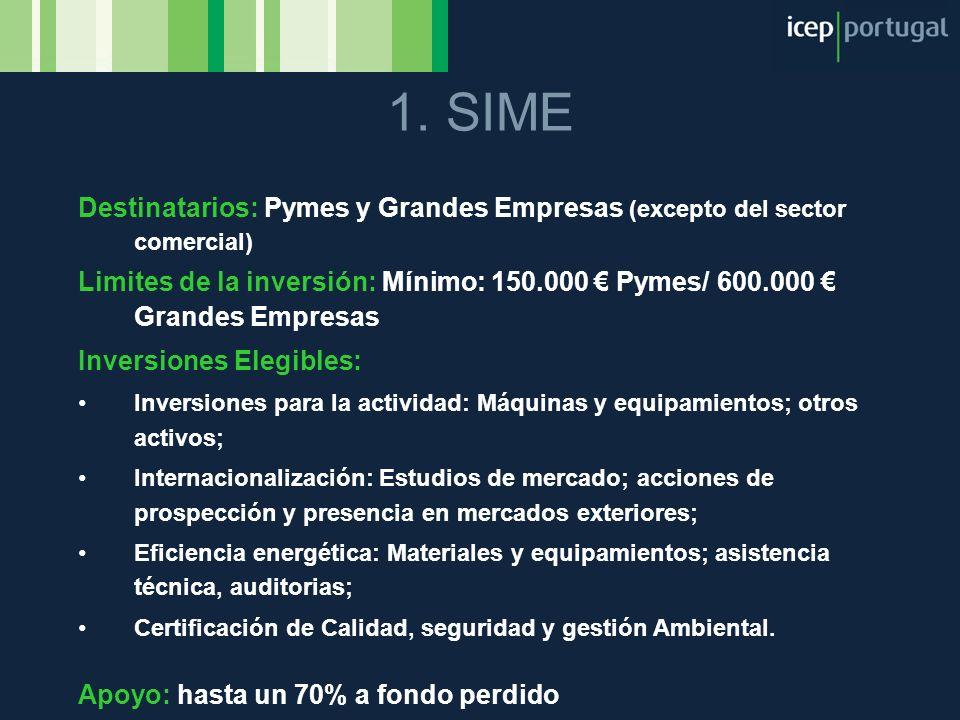Destinatarios: Pymes y Grandes Empresas (excepto del sector comercial) Limites de la inversión: Mínimo: 150.000 Pymes/ 600.000 Grandes Empresas Invers