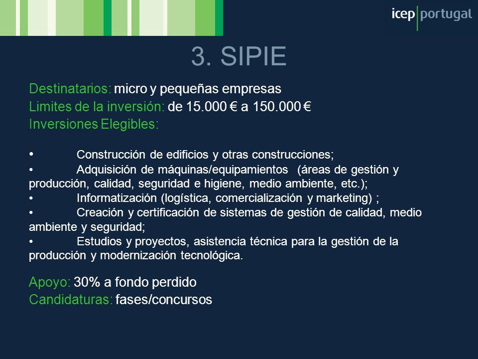 3. SIPIE Destinatarios: micro y pequeñas empresas Limites de la inversión: de 15.000 a 150.000 Inversiones Elegibles: Construcción de edificios y otra