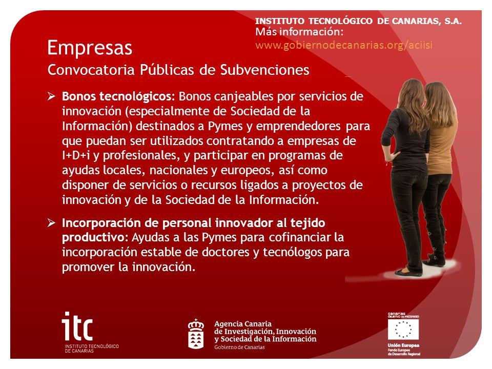 INSTITUTO TECNOLÓGICO DE CANARIAS, S.A. Empresas Bonos tecnológicos: Bonos canjeables por servicios de innovación (especialmente de Sociedad de la Inf
