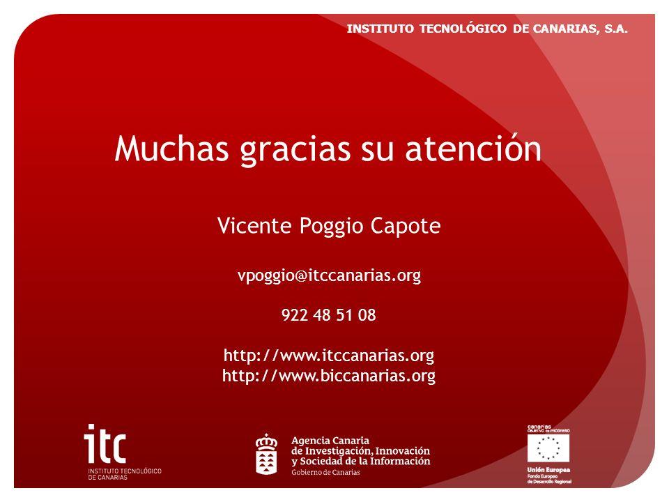 INSTITUTO TECNOLÓGICO DE CANARIAS, S.A. Muchas gracias su atención Vicente Poggio Capote vpoggio@itccanarias.org 922 48 51 08 http://www.itccanarias.o