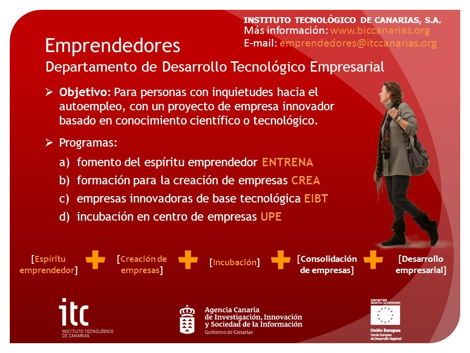 INSTITUTO TECNOLÓGICO DE CANARIAS, S.A. Emprendedores Departamento de Desarrollo Tecnológico Empresarial Objetivo: Para personas con inquietudes hacia