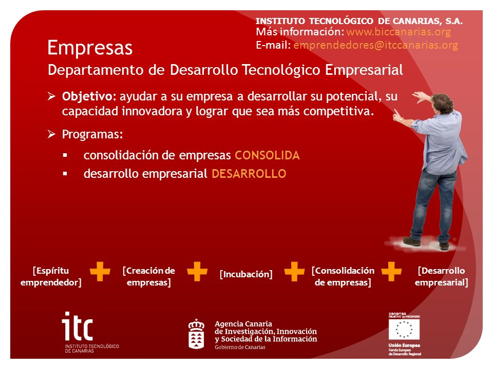 INSTITUTO TECNOLÓGICO DE CANARIAS, S.A. Empresas Objetivo: ayudar a su empresa a desarrollar su potencial, su capacidad innovadora y lograr que sea má