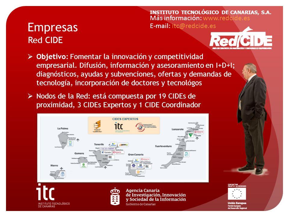 INSTITUTO TECNOLÓGICO DE CANARIAS, S.A. Más información: www.redcide.es E-mail: itc@redcide.es Empresas Red CIDE Objetivo: Fomentar la innovación y co