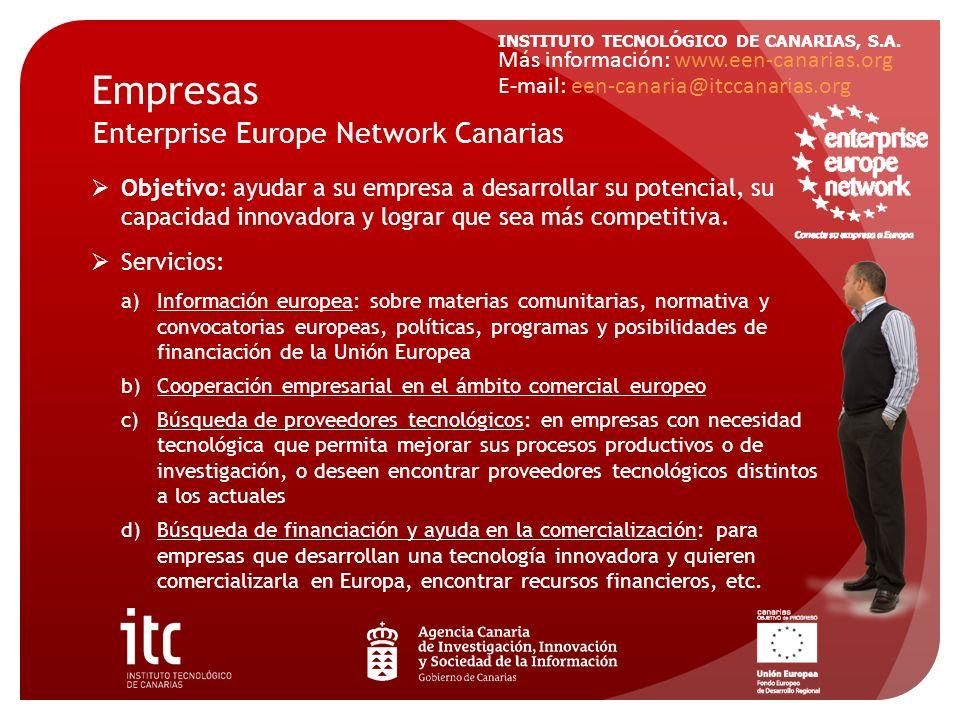 INSTITUTO TECNOLÓGICO DE CANARIAS, S.A. Objetivo: ayudar a su empresa a desarrollar su potencial, su capacidad innovadora y lograr que sea más competi