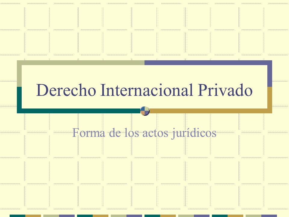 Derecho Internacional Privado Forma de los actos jurídicos