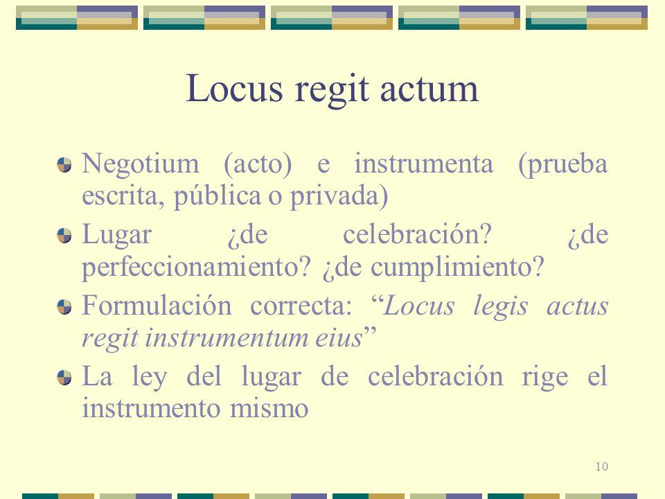 10 Locus regit actum Negotium (acto) e instrumenta (prueba escrita, pública o privada) Lugar ¿de celebración? ¿de perfeccionamiento? ¿de cumplimiento?