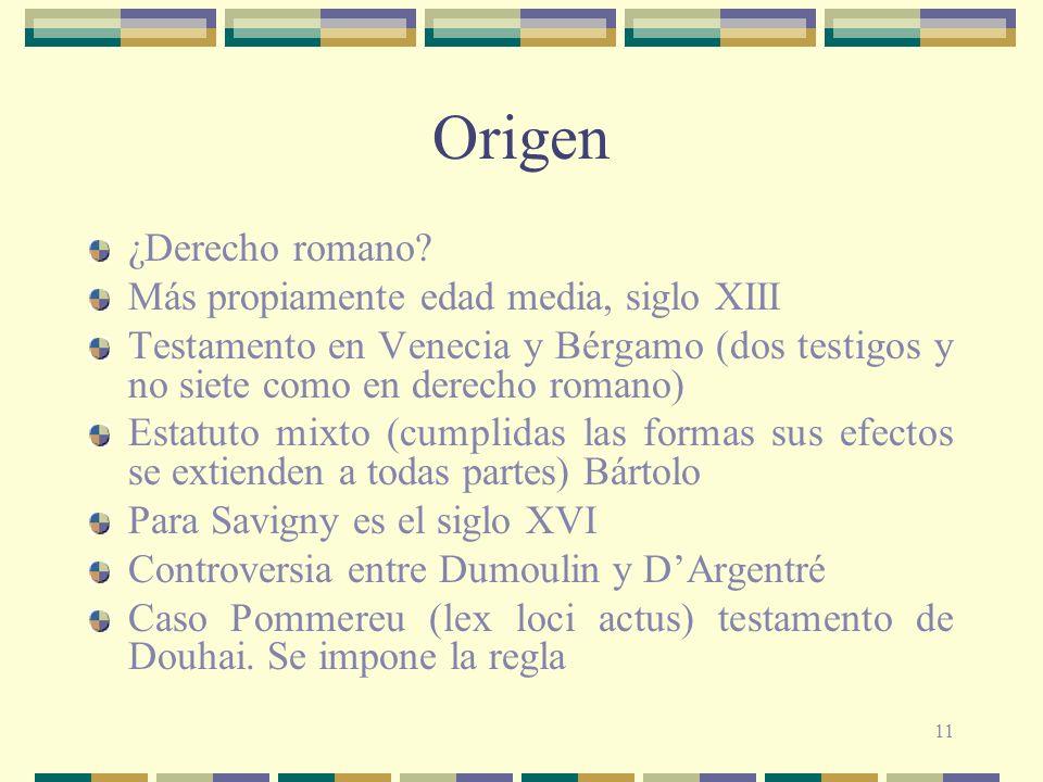 11 Origen ¿Derecho romano? Más propiamente edad media, siglo XIII Testamento en Venecia y Bérgamo (dos testigos y no siete como en derecho romano) Est