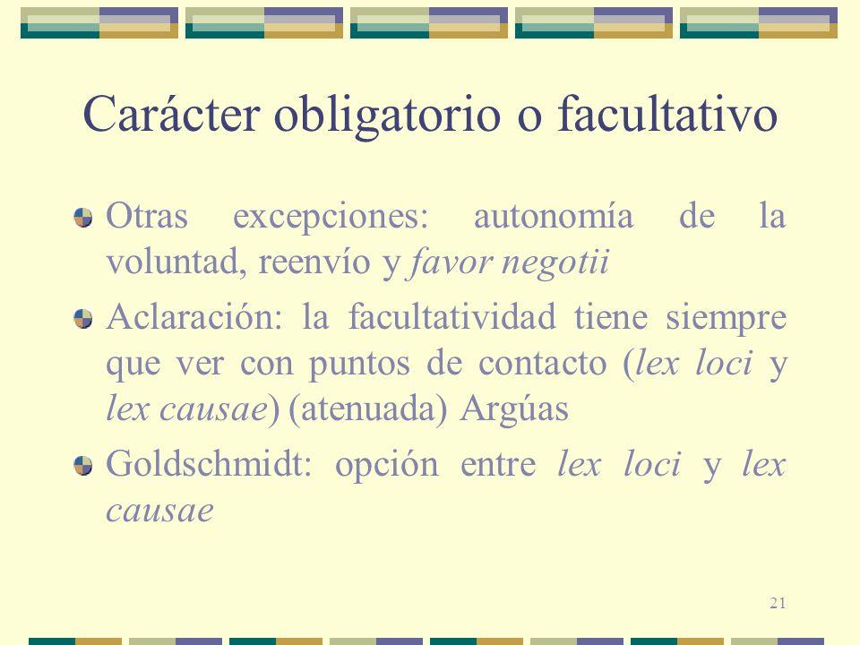 21 Carácter obligatorio o facultativo Otras excepciones: autonomía de la voluntad, reenvío y favor negotii Aclaración: la facultatividad tiene siempre